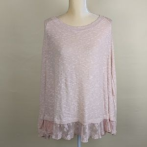 Torrid Split Back Blush Sweater Lace Underlay